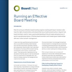 Running An Effective Board Meeting