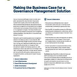 Making The Business Case For A Governance Management Solution