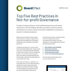 Top Five Best Practices In Not-for-profit Governance