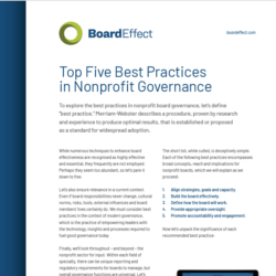 Top Five Best Practices In Nonprofit Governance