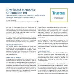 New Board Members: Orientation 101
