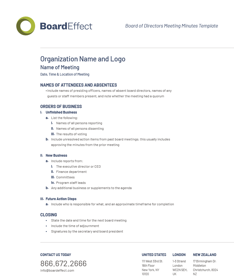 Board Meeting Minutes Template And Best Practices Boardeffect