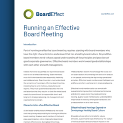Running An Effective Board Meeting