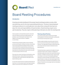 Board Meeting Procedures