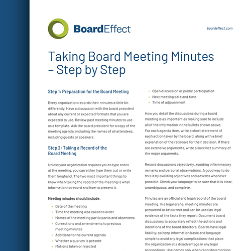 Taking Board Meeting Minutes - Step By Step
