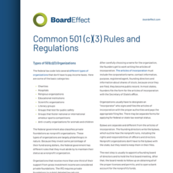 Common 501(c)(3) Rules And Regulations