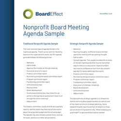 Nonprofit Board Meeting Sample Agenda