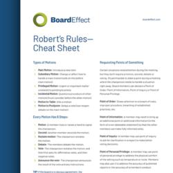 Robert's Rules - Cheat Sheet