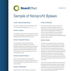 Sample Of Nonprofit Bylaws