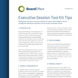 Executive Session Tool Kit Tips