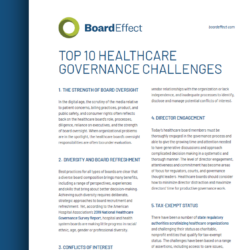 Top 10 Healthcare Governance Challenges