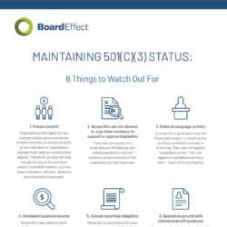 Maintaining 501(c)(3) Status