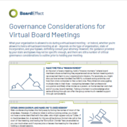 Governance Considerations For Virtual Board Meetings