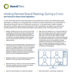 Holding Remote Board Meetings During A Crisis