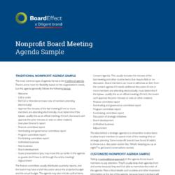 Nonprofit Board Meeting Sample Agenda